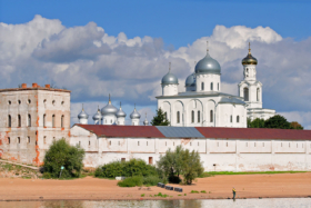 View to Yuriev Monastery from Volkhov in Novgorod, Russia