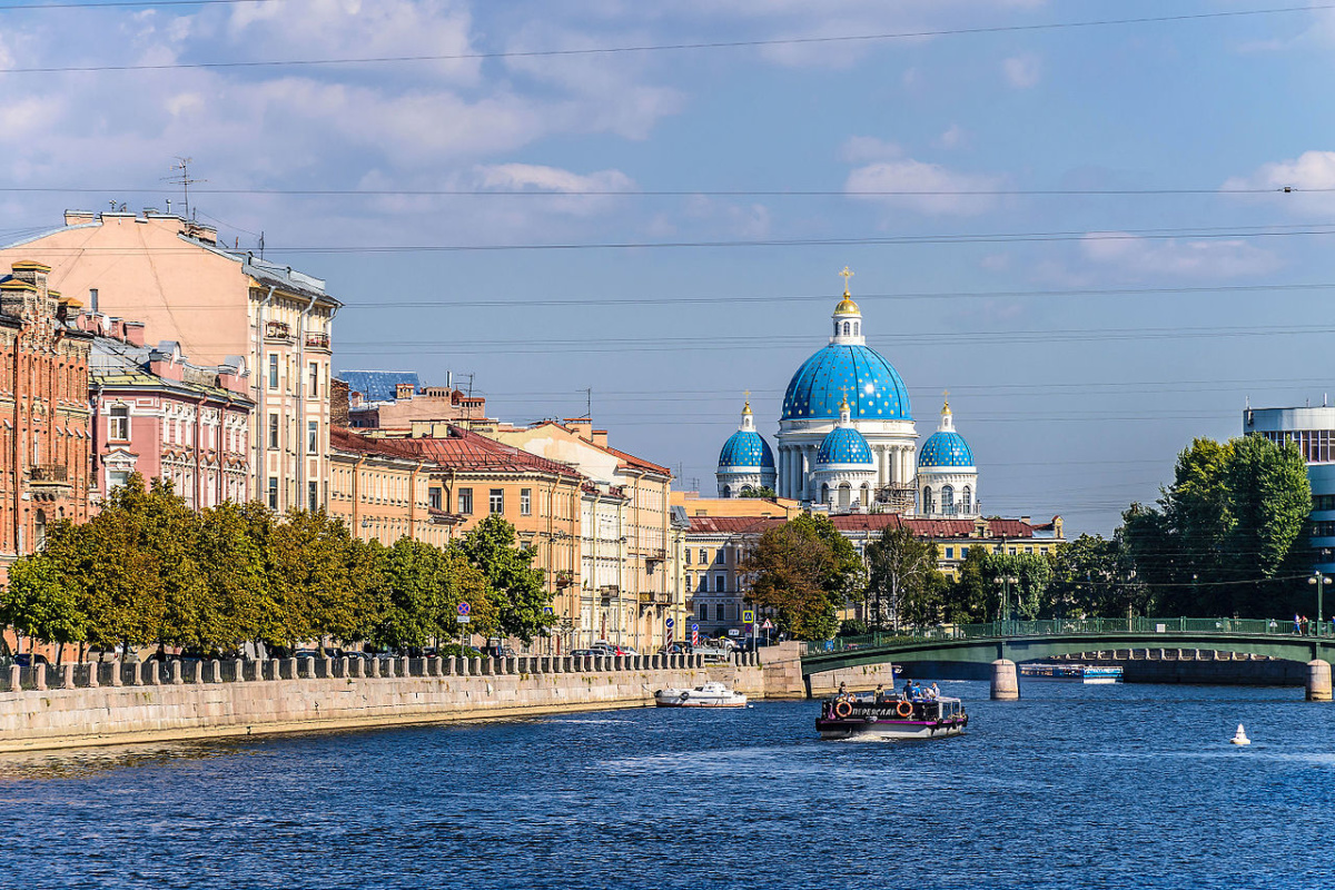 Fontanka River in Saint Petersburg. View to Trinity Cathedral