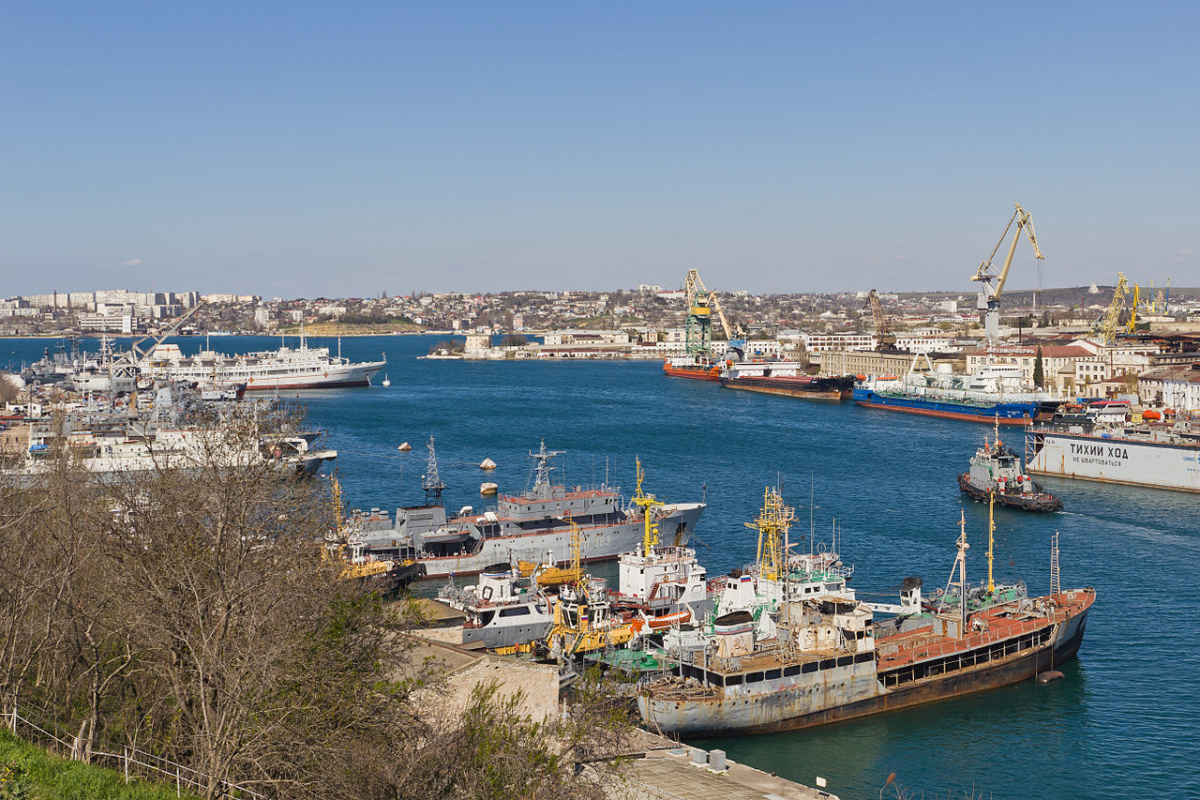 View towards the Southern Bay in the Federal City of Sevastopol. Crimean peninsula