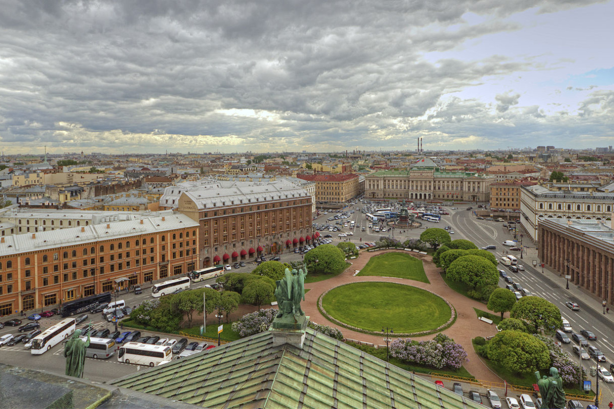 View from Colonnade of St. Isaac's Cathedral in  Saint Petersburg, Russia