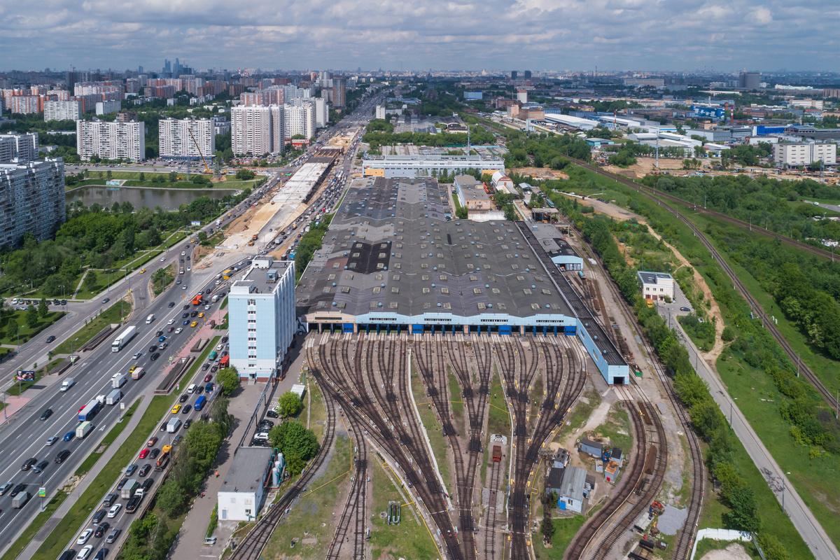 Аэрофотосъёмка метродепо Варшавское в Москве